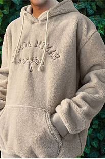 Cream White Man's Plush Letter Embroidey Long Slevee Hoodies CMM291