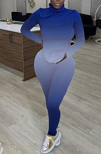 ブルーファッションセクシーハイカラータイダイカジュアルツーピースWY6743