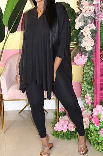 Black Euramerican Womenswear Pure Color Slotting V Neck Two-Pieces Q610