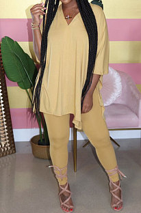 Yellow Euramerican Womenswear Pure Color Slotting V Neck Two-Pieces Q610