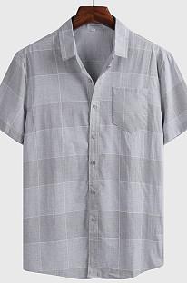Gray Srmmer Man Grid Short Slevee Casual Shirt  CMM1300
