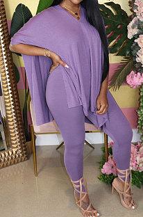 Purple Euramerican Womenswear Pure Color Slotting V Neck Two-Pieces Q610
