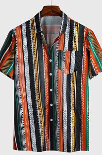 Brown Man Stripe Print Short Slevee Shirt Casual Top CMM1231