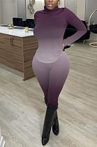 Purple Fashion Sexy High Collar Tie Dye Casual Two-Piece WY6743