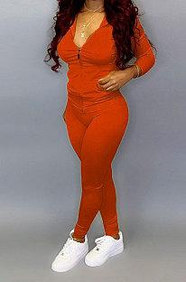 Orange Pure Color Long Sleeve Zipper Hooded Coat Tight Pants Stets Q652