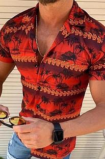 Red Man's Hawaiian Casual Beach Print Short Sleeve Shirt CMM29