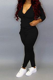 Black Pure Color Long Sleeve Zipper Hooded Coat Tight Pants Stets Q652