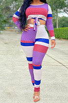 Purple Women Autumn Winter Contrast Color Printing Sexy Trendy Long Sleeve Two-Pieces AD3028