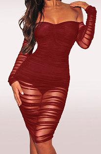 Wine Red Euramerican Trend Sexy Net Yarn Off Shoulder Midi Dress WMZ2337