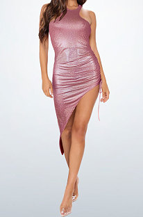 Wine Red Bling Bling Shirred Detail Cultivate One's Morality Irregularity Club Mini Dress WMZ2618