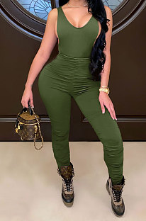 Army Green Sleeveless Shirred Detail Sexy Haltenck Bodycon Jumpsuits WMZ2617