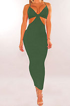 Army Green Womenswear Irregularity Gallus Haltenck Sexy Dance Bandage Culb Long Dress WMZ2625