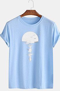 Light Blue Cotton Casual Loose Round Collar Men's T-Shirt CMM031