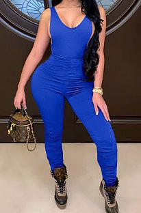 Bright Blue Sleeveless Shirred Detail Sexy Haltenck Bodycon Jumpsuits WMZ2617