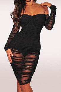 Black Euramerican Trend Sexy Net Yarn Off Shoulder Midi Dress WMZ2337
