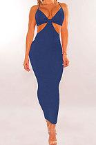 Royal Blue Womenswear Irregularity Gallus Haltenck Sexy Dance Bandage Culb Long Dress WMZ2625