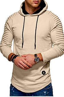 Khaki Winter Men's Long Slevee Casual A Hoodie With A Slubby Texture CMM02