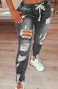 Elastic Waist Mid Waist Lace-Up Cultivate One's Morality Elastic Force Pencil Pants Hold Jeans Long Pants QFX20818