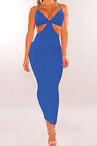 Bright Blue Womenswear Irregularity Gallus Haltenck Sexy Dance Bandage Culb Long Dress WMZ2625