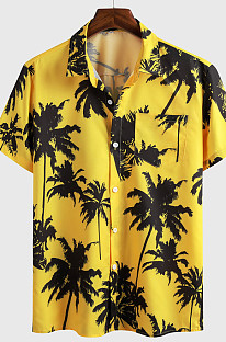 Yellow Casual Top Sandbeach Coconut Trees Print Shirt CMM1146