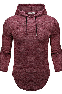 Wine Red Men Autumn And Winter Prue Color Casual Hooded CMM14