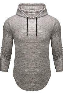 Gray Men Autumn And Winter Prue Color Casual Hooded CMM14