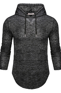 Black Men Autumn And Winter Prue Color Casual Hooded CMM14