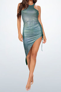 Blackish Green Bling Bling Shirred Detail Cultivate One's Morality Irregularity Club Mini Dress WMZ2618