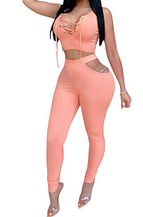 Pink Euramerican Trendy Hollow Out Lace-Up Sexy Two-Pieces XZ3574