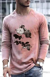 Pink Autumn Casual Round Collar Long Slevee T-Shirt CMM837