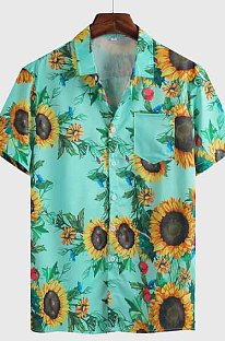 Green Summer Hawaii Short Slevee Print Loose Casual Shirt CMM1227