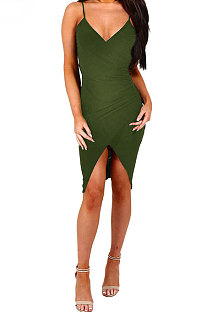 Army Green Gallus Cultivate One's Morality Sexy Spring Summer Womenswear  Mini Dress WMZ6233
