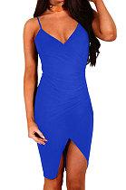 فستان قصير مثير للنساء لربيع وصيف ومثير من جالوس أزرق لامع - WMZ6233