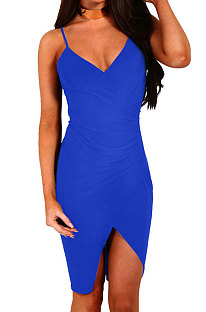 Bright Blue Gallus Cultivate One's Morality Sexy Spring Summer Womenswear  Mini Dress WMZ6233