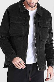 Black Restoring Ancient Ways Corduroy Casual Short Coat CMM23