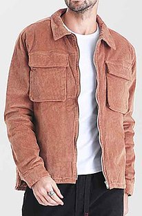 Khaki Restoring Ancient Ways Corduroy Casual Short Coat CMM23