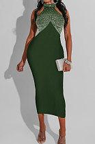 Army Green Bodycon Party Sleeveless Hot Drilling Halter Neck Long Dress WMZ2518
