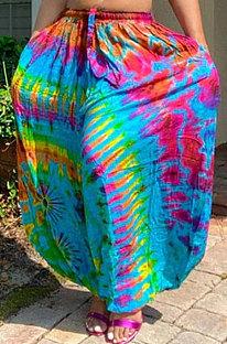 Printing Loose Casual Bind Wide-Legged Long Pants ED8212