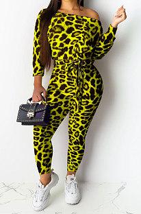 Лимонно-желтый сексуальный женский повседневный комбинезон с леопардовым принтом и вырезом лодочкой NYY6060