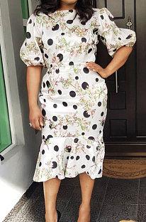 Womenswear Wave Point Printing Puff Sleeve Sexy Midi Dress ED8064