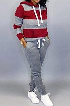 Gray Autumn Winter Trendy Casual Sport Hoodies Fleece Two-Pieces D8313