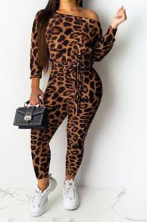 Coffee Sexy Leopard Womenswear Boat Neck Casual Jumpsuit NYY6060