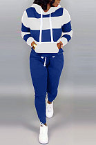 Blue White Autumn Winter Trendy Casual Sport Hoodies Fleece Two-Pieces D8313
