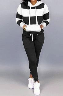 Black White Autumn Winter Trendy Casual Sport Hoodies Fleece Two-Pieces D8313