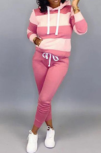 Pink Autumn Winter Fashion Casual Sport Hoodies Fleece Two-Pieces D8313