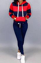 Navy Blue Autumn Winter Fashion Casual Sport Hoodies Fleece Two-Pieces D8313