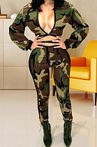 Long Sleeve Dew Chest Bind Camo Pants Sets WM939