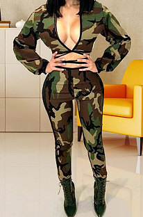 Long Sleeve Dew Chest Bind Camo Pants Sets WM939