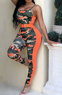 Sexy Womenswear Gallus Low Bosom Camo Bodycon Jumpsuits ORY5049