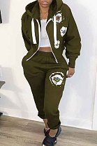 Army Green Print Zipper Casual Hooded Loose Two-Piece CYY8066